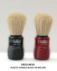 Omega Pure Bristle Shaving Brush - Ribbed Red Handle