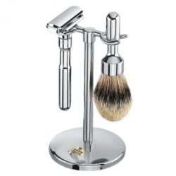 Merkur Futur 3 Pc Shaving Set with Razor, Brush and Stand - Classic Chrome Finish