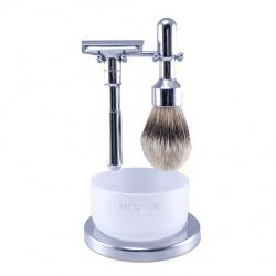 Merkur Futur 4 Pc Shaving Set with Razor, Brush, Bowl and Stand - Polished Chrome Finish