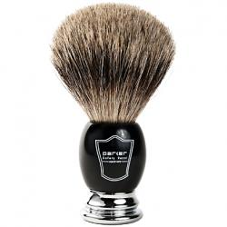 Parker Black and Chrome Handle Pure Badger Shaving Brush with Stand