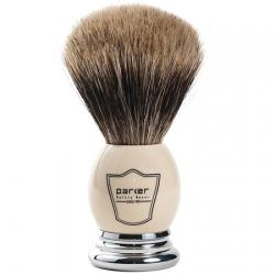 Parker Faux Ivory and Chrome Handle Pure Badger Shaving Brush with Stand