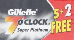 Gillette 7 O'Clock Black Super Platinum Double Edge Razor Blade - 5+2 Blades Bonus