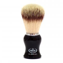 Omega HI-BRUSH Synthetic Fiber Shaving Brush - Black Handle