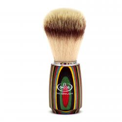 Omega HI-BRUSH Synthetic Fiber Shaving Brush - Multi Layered Wood Handle