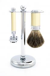 Edwin Jagger 3 pc Faux Ivory and Chrome Shaving Set - Pure Badger Shaving Brush & DE87 Razor