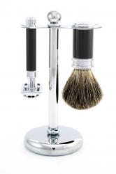 Edwin Jagger 3 pc Faux Ebony and Chrome Shaving Set - Pure Badger Shaving Brush & DE86 Razor