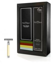 Edwin Jagger Sandalwood Gift Set with Faux Ivory Traditional DE87bl Razor
