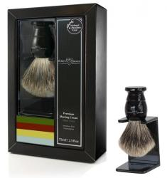 Edwin Jagger Aloe Vera 3-Piece Gift Set with Faux Ebony Brush and Stand