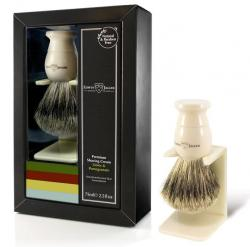 Edwin Jagger Aloe Vera 3-Piece Gift Set with Faux Ivory Brush and Stand