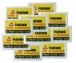 Feather New HI-Stainless Platinum Coated Razor Blades 100 Blades ( 10 packs of 10 blades)