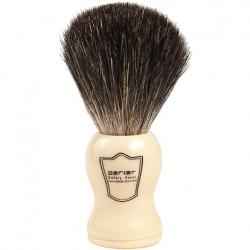 Parker Faux Ivory Handle Black Badger Shaving Brush with Stand
