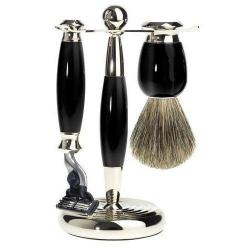 Mark Of A Gentleman 3 Piece Mach3 Pure Badger Shave Set - Black